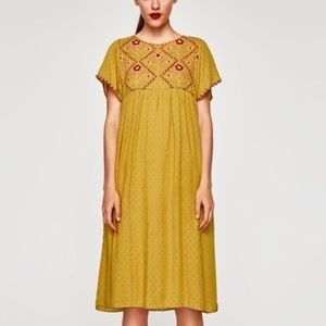 Zara Mustard Embroidered Dotted mesh Midi Dress